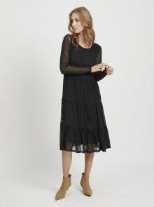 Černé šaty s průsvitnými rukávy VILA Davis - S