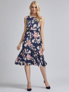 Tmavě modré květované plisované šaty Dorothy Perkins - XS