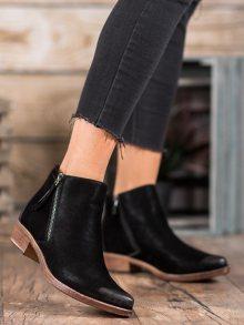 Designové  kotníčkové boty černé dámské na širokém podpatku 37