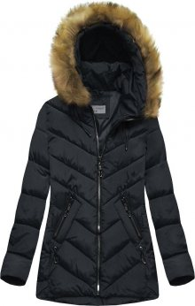 Tmavě modrá dámská zimní prošívaná bunda s kapucí (B2633) tmavěmodrá S (36)