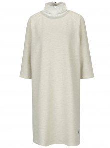 Krémové žíhané mikinové šaty s 3/4 rukávem Scotch & Soda