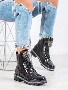 Krásné černé  kotníčkové boty dámské na plochém podpatku 36