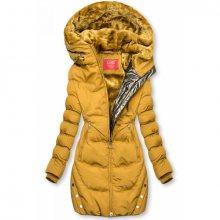 Žlutá zimní bunda se stříbrným lemem