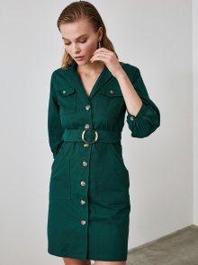 Tmavě zelené košilové šaty Trendyol - XS