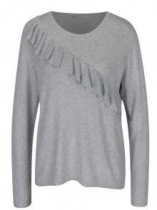 Světle šedý žíhaný svetr s volánem ONLY Mila - L