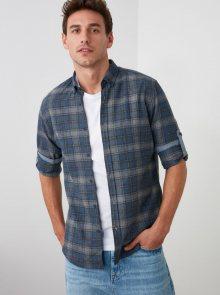 Tmavě modrá pánská kostkovaná košile Trendyol - S