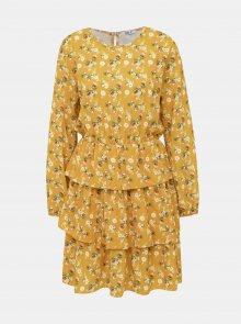 Hořčicové květované šaty Haily´s Anni - XS