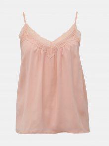 Světle růžový top s krajkou VERO MODA Amy - XS