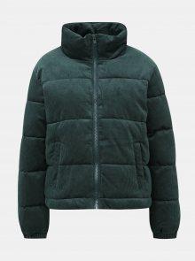 Tmavě zelená dámská manšestrová prošívaná zimní bunda Haily´s Cordy - XL