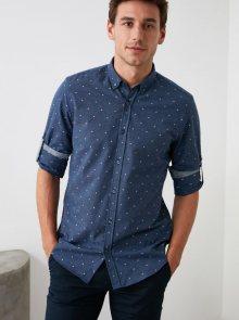 Tmavě modrá pánská puntíkovaná košile Trendyol - S