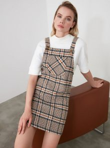Hnědé kostkované šaty Trendyol - M