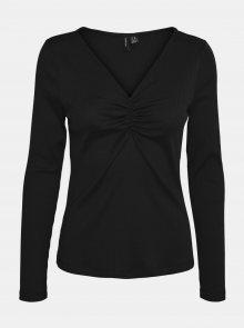 Černé žebrované tričko VERO MODA Polly - M