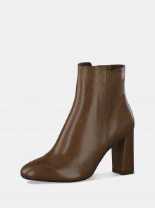 Hnědé kožené kotníkové boty Tamaris - 36