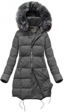 Prošívaná dámská zimní bunda v grafitové barvě s kapucí (7705BIG) tmavě šedá 52