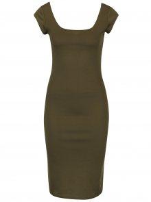 Khaki pouzdrové šaty s kulatým výstřihem ZOOT