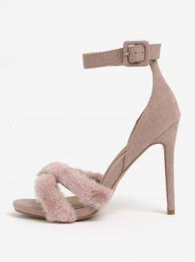 Světle růžové sandálky s umělou kožešinou MISSGUIDED