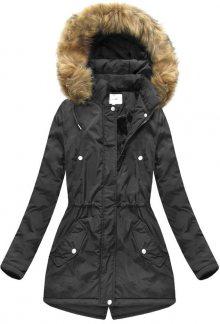Černá dámská zimní bunda s kapucí (7312) černá XXL (44)
