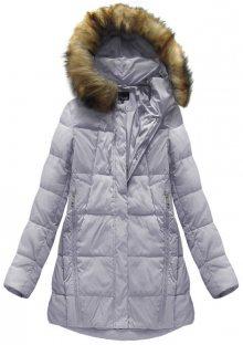 Dámská zimní bunda ve vřesové barvě přírodní péřovou výplní (8061) fialová S (36)