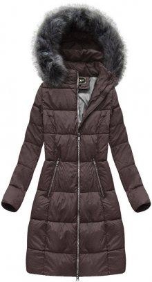 Fialovohnědá dámská dlouhá zimní bunda (7701BIG) fialová 52
