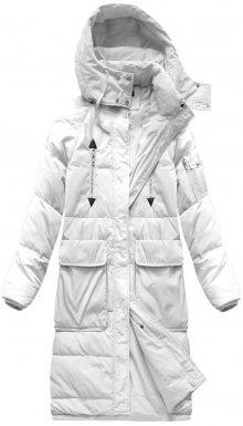 Jednoduchý bílý dámský zimní kabát s přírodní péřovou výplní (7118) bílá S (36)