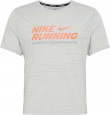 NIKE Funkční tričko \'Miler Future Fast\' šedá / oranžová