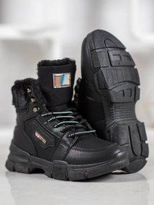 Trendy dámské  kotníčkové boty černé na plochém podpatku 37