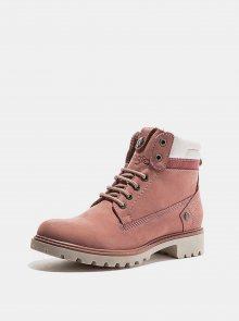 Růžové dámské kožené zimní boty Wrangler