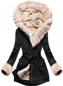 MODOVO Dámska zimní bunda s kožešinou černá