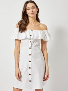 Bílé šaty s odhalenými rameny Dorothy Perkins - L