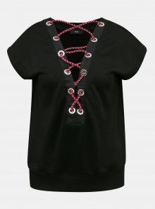 Černé dámské tričko s detaily v dekoltu Diesel - S