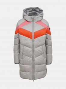 Šedý dámský zimní prošívaný kabát Diesel - XS