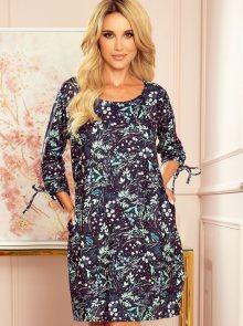 Tmavě modré květované šaty numoco - M