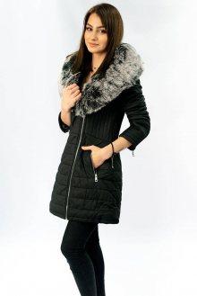 Černý dámský kabát z eko kůže s kožíškem (LD5520) černá S (36)