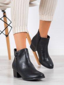 Trendy černé  kotníčkové boty dámské na širokém podpatku 39