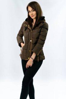 Hnědá prošívaná dámská zimní bunda s kapucí (WZ6636) hnědá S (36)