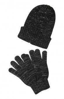 Reflexní čepice a prstové rukavice / černá/šedá