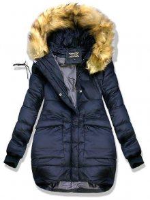 Tmavě modrá zimní bunda s kožešinou