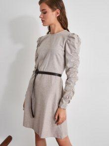 Béžové šaty s nařasenými rukávy Trendyol - XS