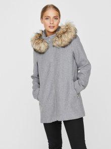Šedý zimní kabát s příměsí vlny VERO MODA Collaryork - XS