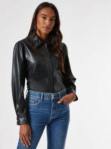 Černá koženková košile Dorothy Perkins - S