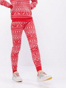 Červené tepláky s vánočním motivem VILA Kosi - XS
