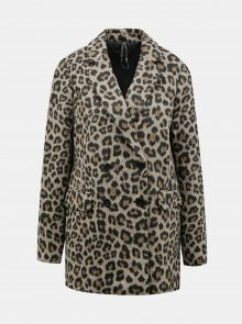 Světle hnědý kabát s leopardím vzorem Dorothy Perkins - XS