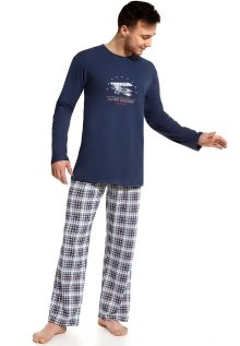 Pánské pyžamo Cornette 124/44 L Tm. modrá