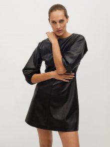Černé koženkové šaty Mango