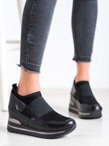 Designové dámské černé  tenisky na klínku