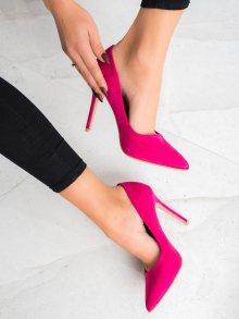 Luxusní  lodičky růžové dámské na jehlovém podpatku 35