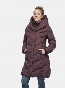 Vínový dámský prošívaný zimní kabát Ragwear - XS