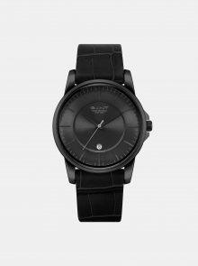 Pánské hodinky s černým koženým páskem GANT