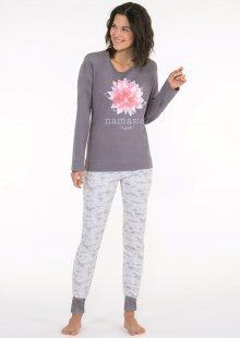 Dámské pyžamo CTM LOTUS.PL XL Tm. šedá