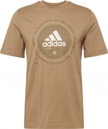 ADIDAS PERFORMANCE Funkční tričko světle hnědá / bílá